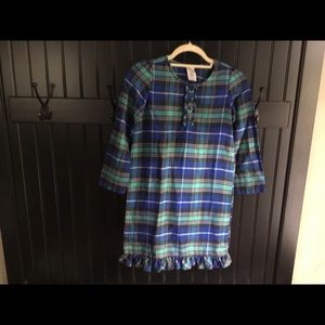Lands End plaid polyester nightgown Girls 8